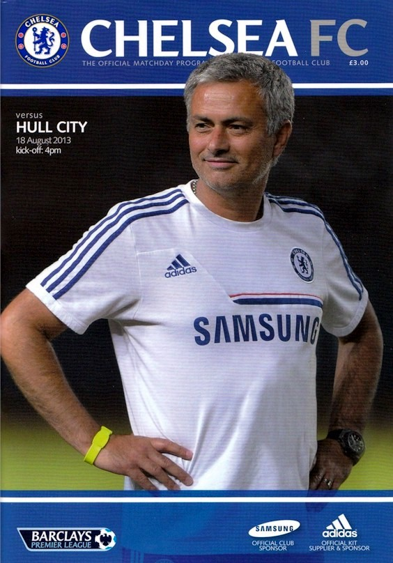 Jose Mourinho on the cover of the Chelsea v. Hull City programme from the match played on 18 August 2013