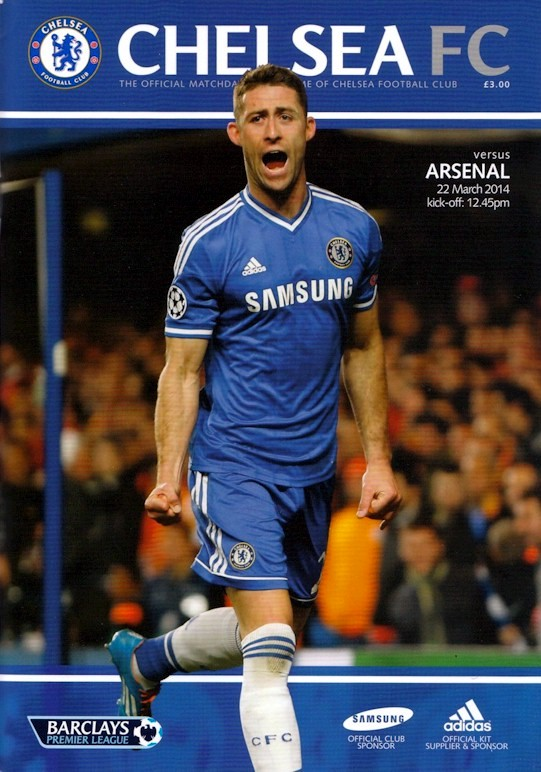 Gary Cahill on the cover of the Chelsea v. Arsenal programme from the match played on 22 March 2014