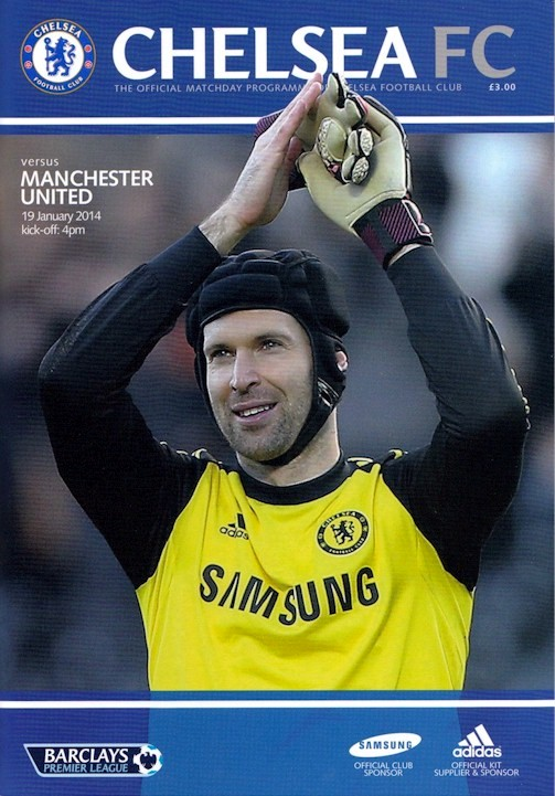 Petr Cech on the cover of the Chelsea v. Manchester United programme from the match played on 19 February 2014