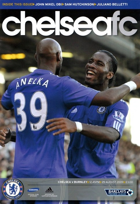 Nicolas Anelka and Didier Drogba e on the cover of the Chelsea v. Burnley programme from the match played on 29 August 2009