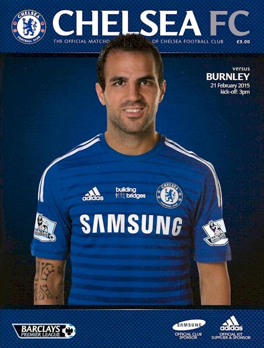 Cesc Fabregas on the cover of the Chelsea v. Burnley programme from the match played on 21 February 2015