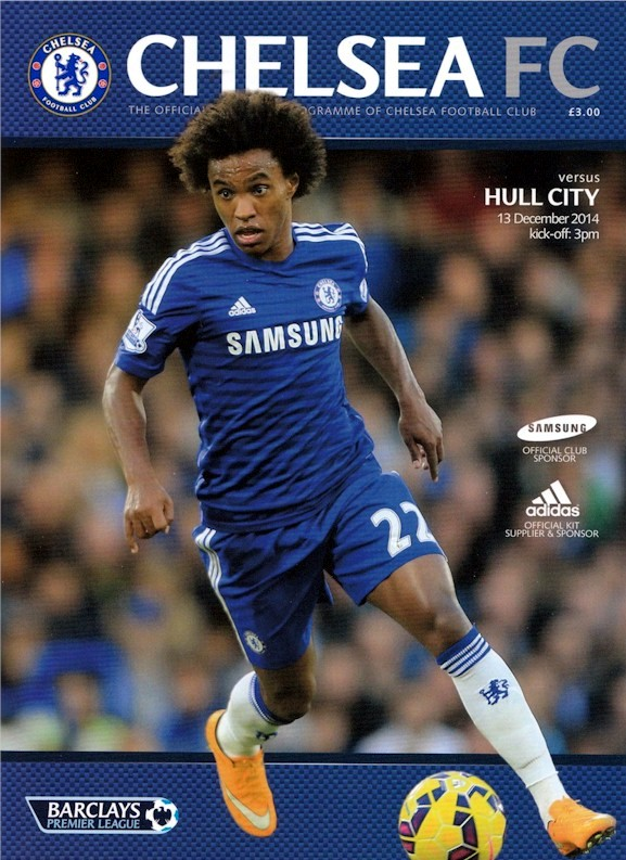 Willian on the cover of the Chelsea v. Hull City programme from the match played on 13 December 2014
