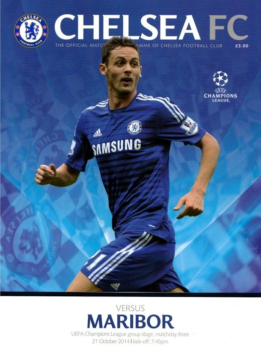 The cover of the Chelsea v. Maribor programme from the match played on 21 October 2014
