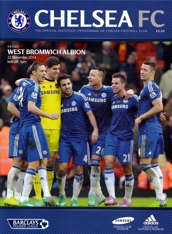 The cover of the Chelsea v. West Bromwich Albion programme from the match played on 22 November 2014