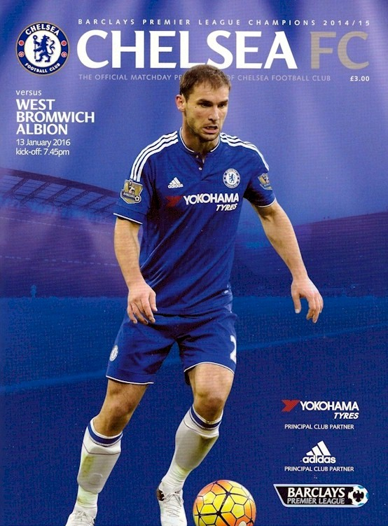 Branislav Ivanovic on the cover of the Chelsea v. West Bromwich Albion programme from the match played on 13 January 2016