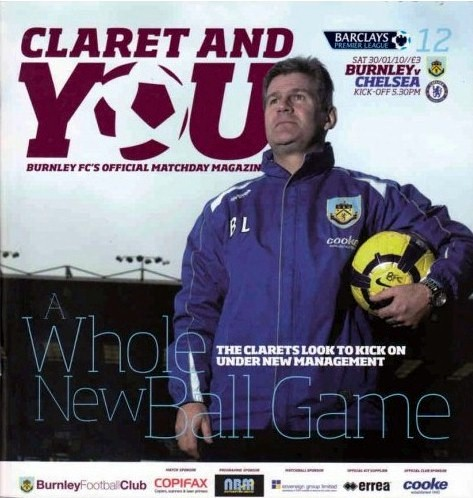The cover of the Burnley v. Chelsead programme from the match played on 30 January 2010