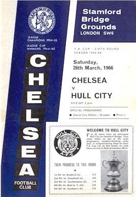 The cover of the Chelsea v. Hull City programme from the match played on 26 March 1966