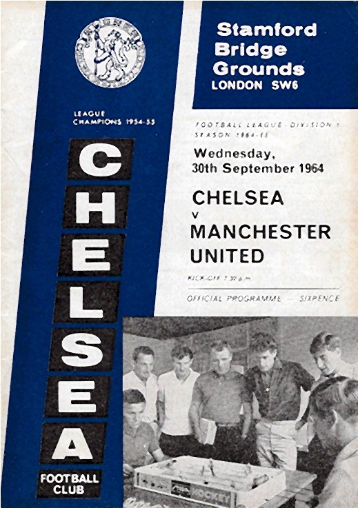 The cover of the Chelsea v. Manchester United programme from the match played on 30 September 1964