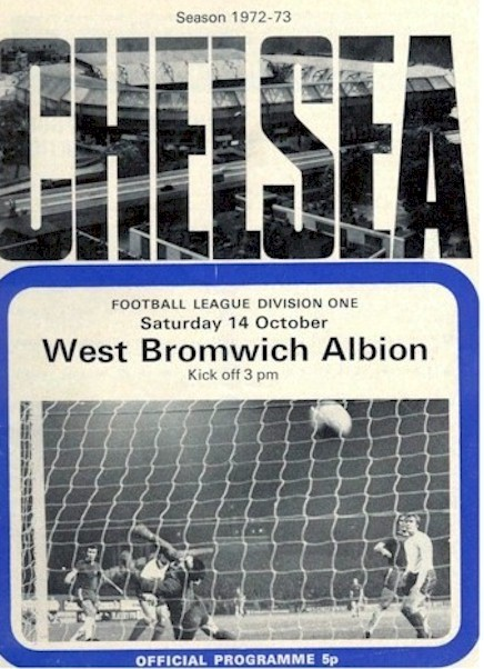 Chris Garland on the cover of the Chelsea v. West Bromwich Albion programme  from the match played on 14 October 1972