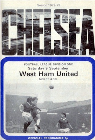 The cover of the Chelsea v. West Ham United programme from the match played on 9 September 1972